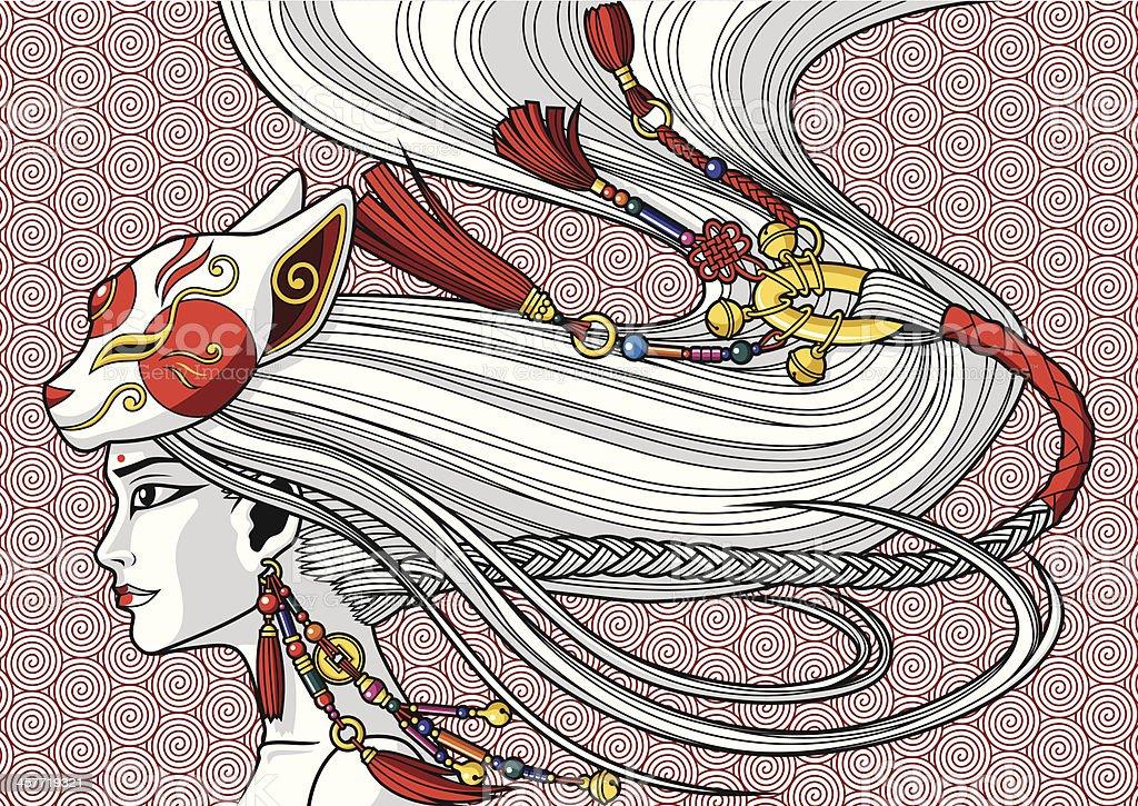 China Girl vector art illustration