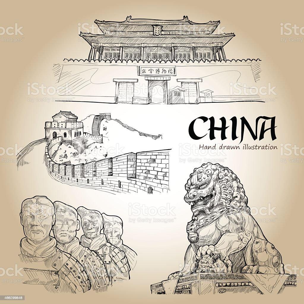 China Hand Drawn. Travel Concept. Icons set. Vector Illustration vector art illustration