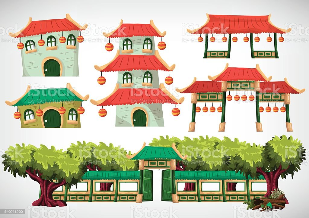 China house objects for the game and animation. vector art illustration