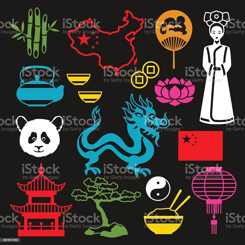 China icons set. Chinese symbols and objects vector art illustration