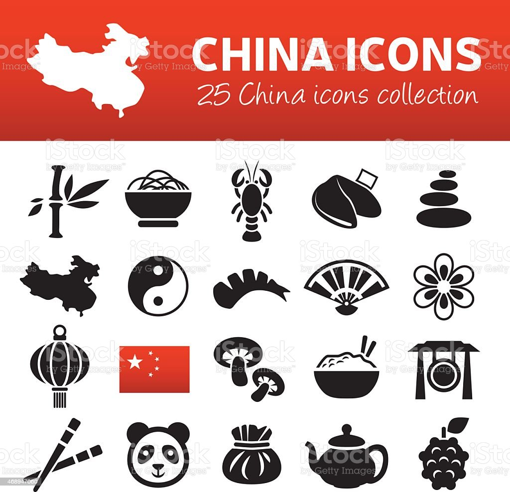china icons vector art illustration