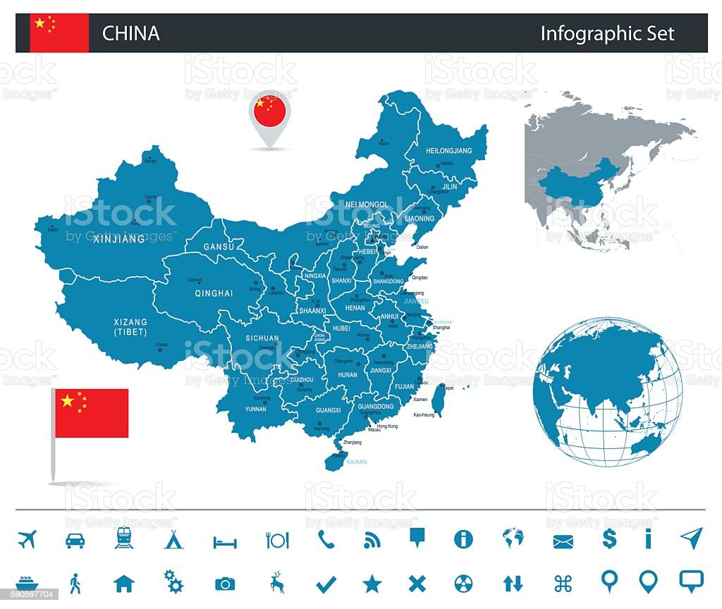 China - infographic map - Illustration vector art illustration