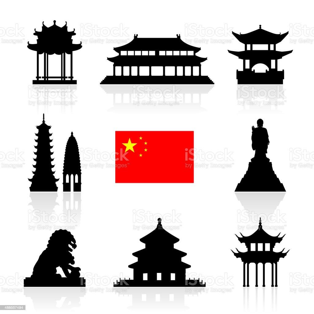 China Landmarks Icon Set. vector art illustration