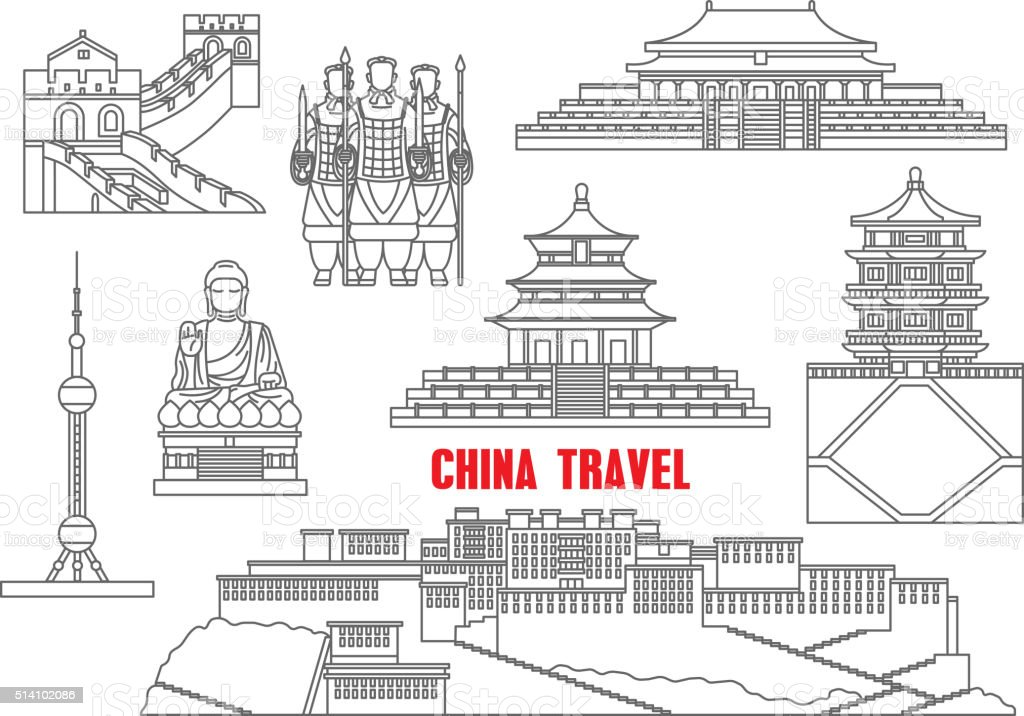 China landmarks thin line icons vector art illustration