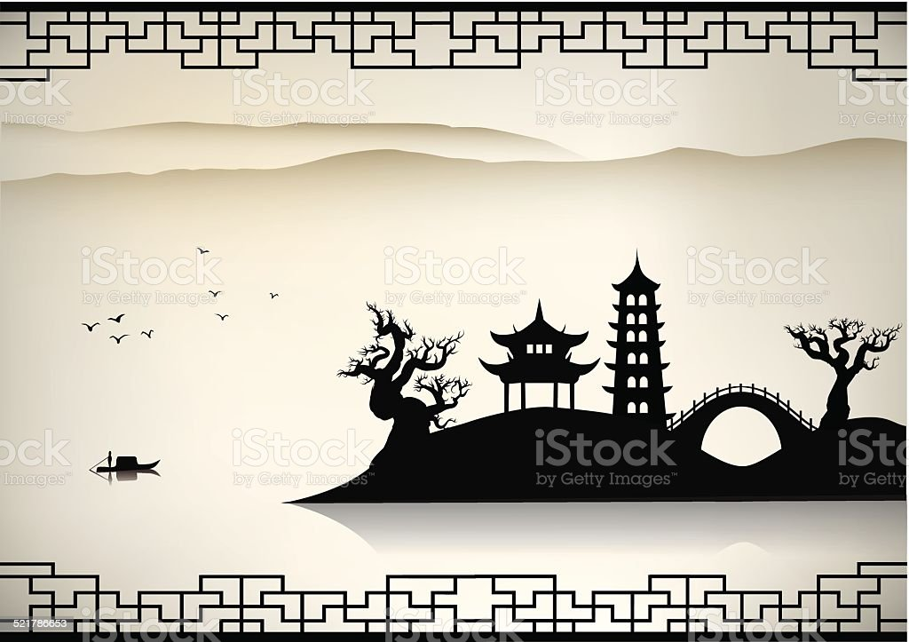 China landscape vector art illustration
