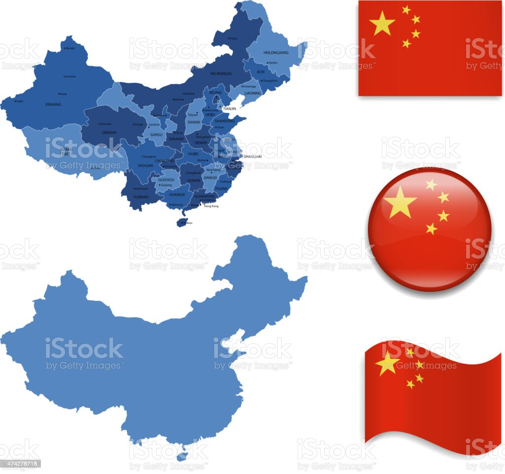 China Map and Flag Collection vector art illustration