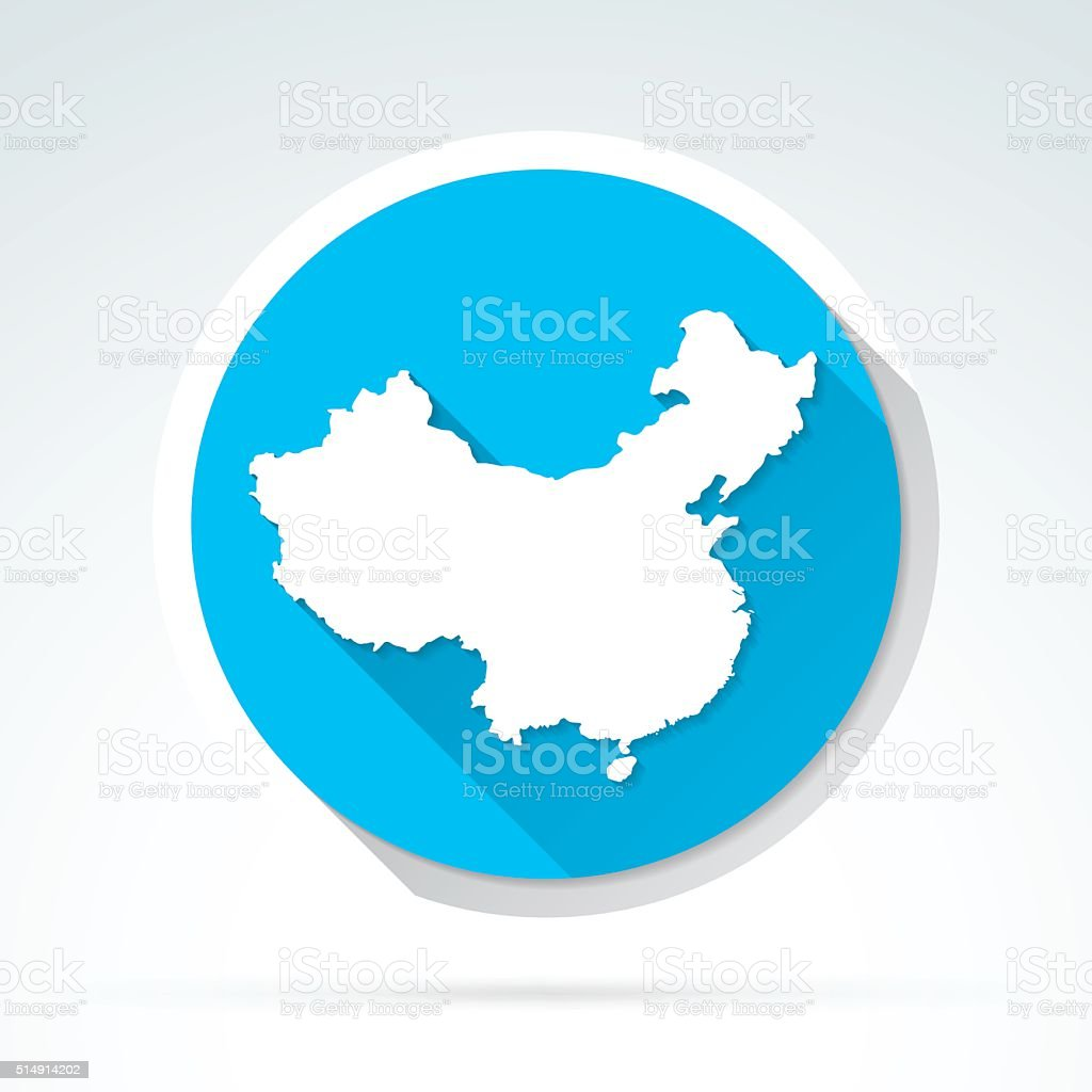 China map icon, Flat Design, Long Shadow vector art illustration
