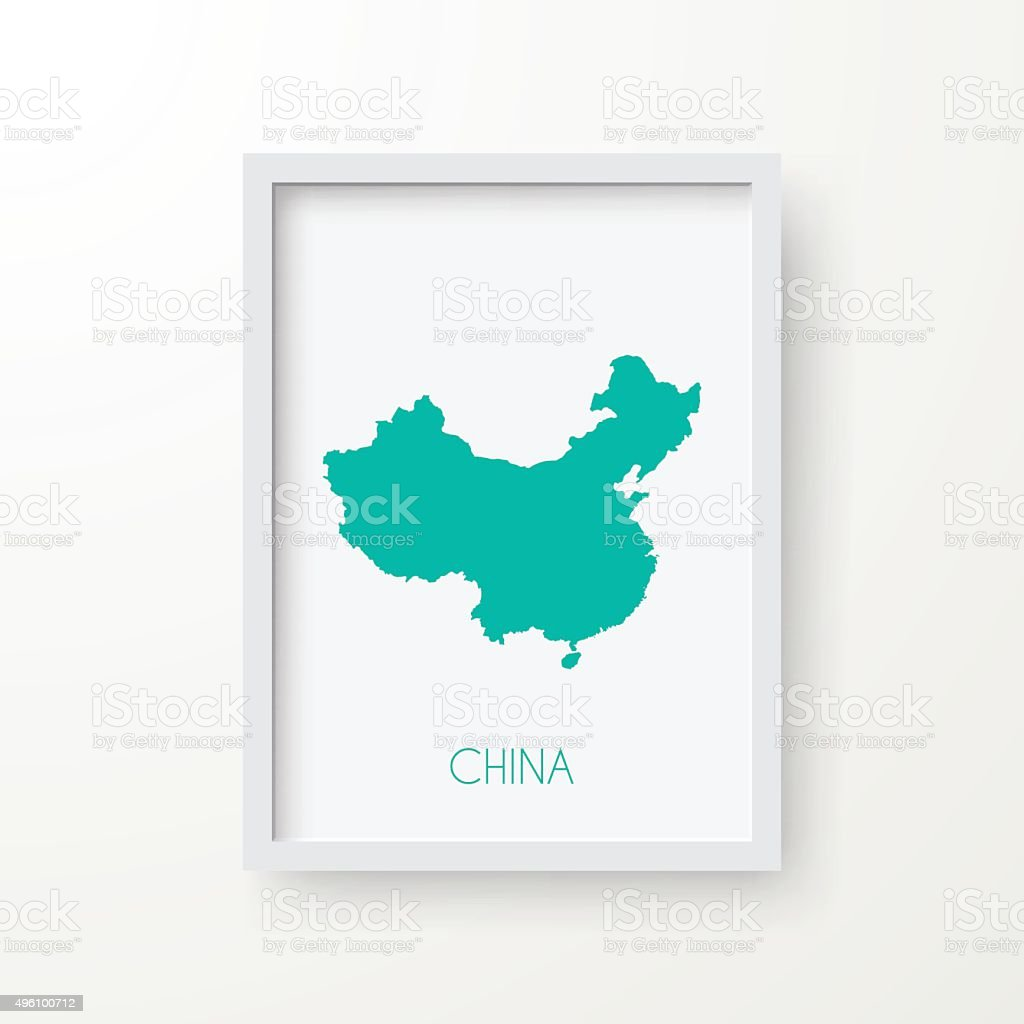 China Map in Frame on White Background vector art illustration