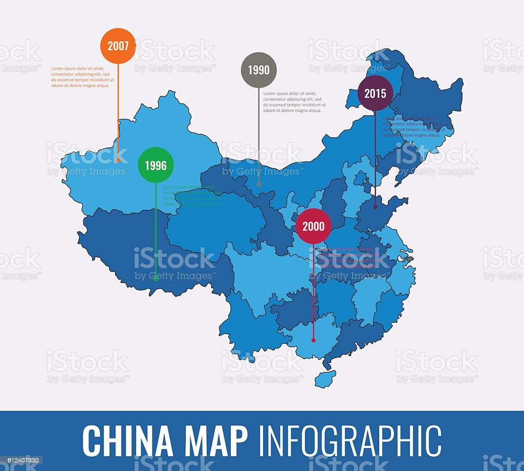 China map infographic template. All regions are selectable. Vector royalty-free stock vector art