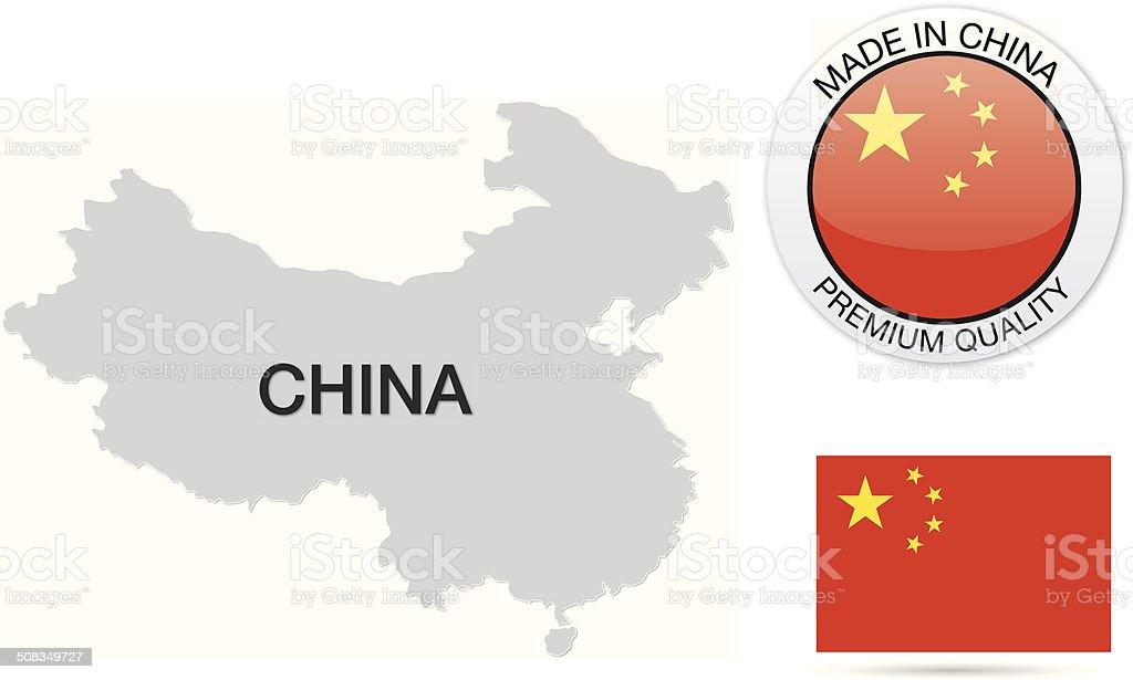 China Map Kit vector art illustration