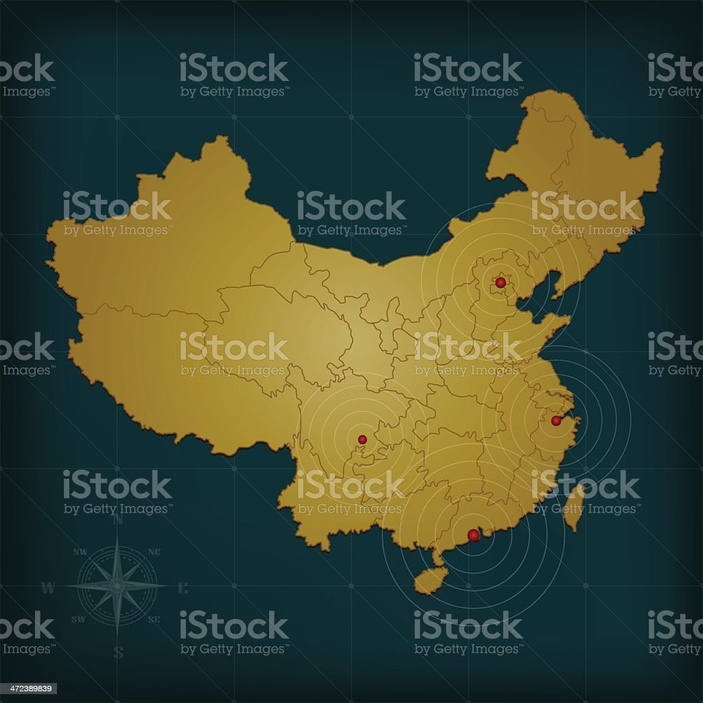 China map on dark background with grid and markers royalty-free stock vector art