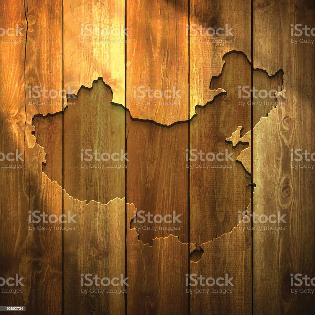 China Map on lit Wooden Background vector art illustration