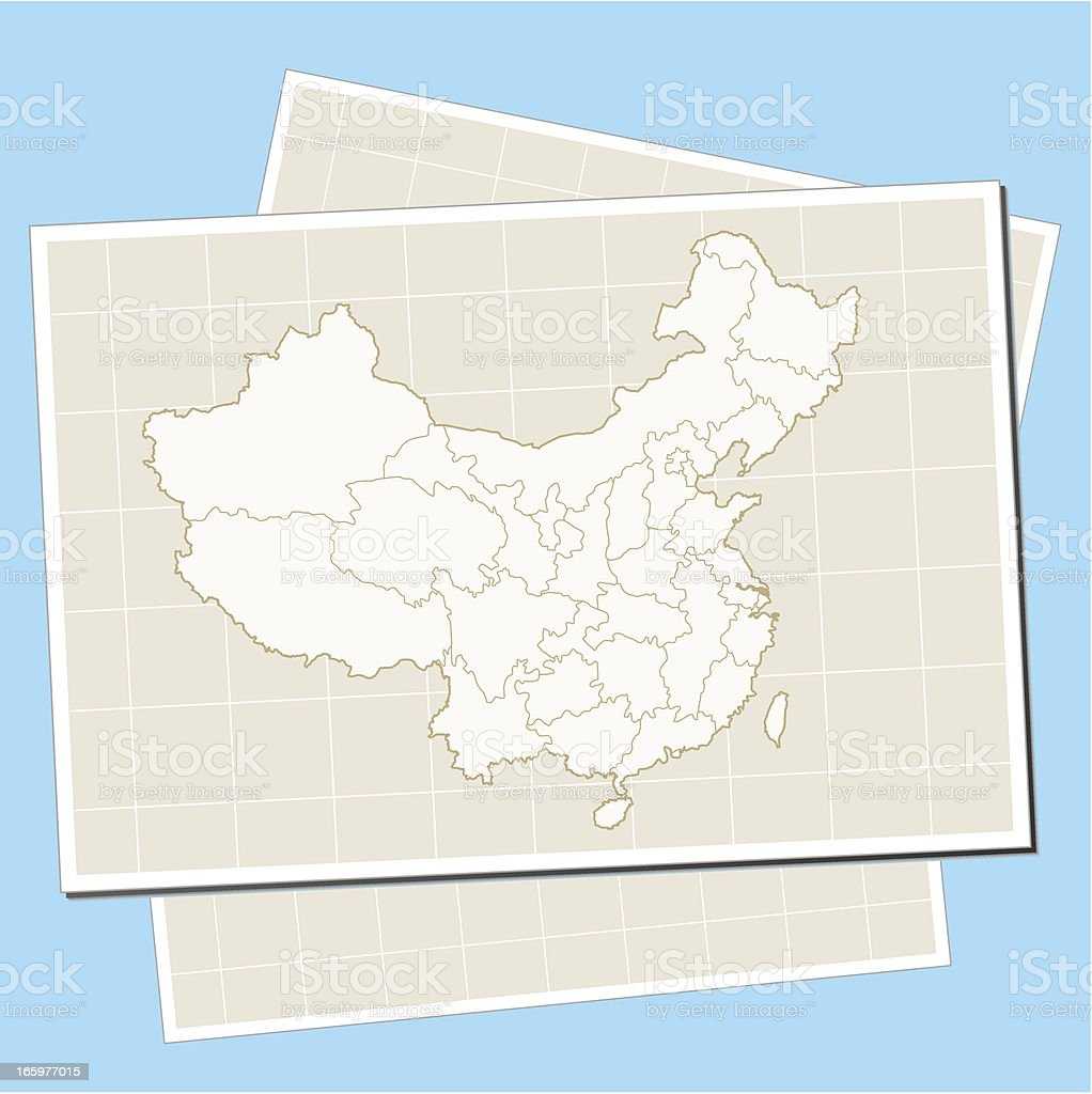 China map on paper royalty-free stock vector art