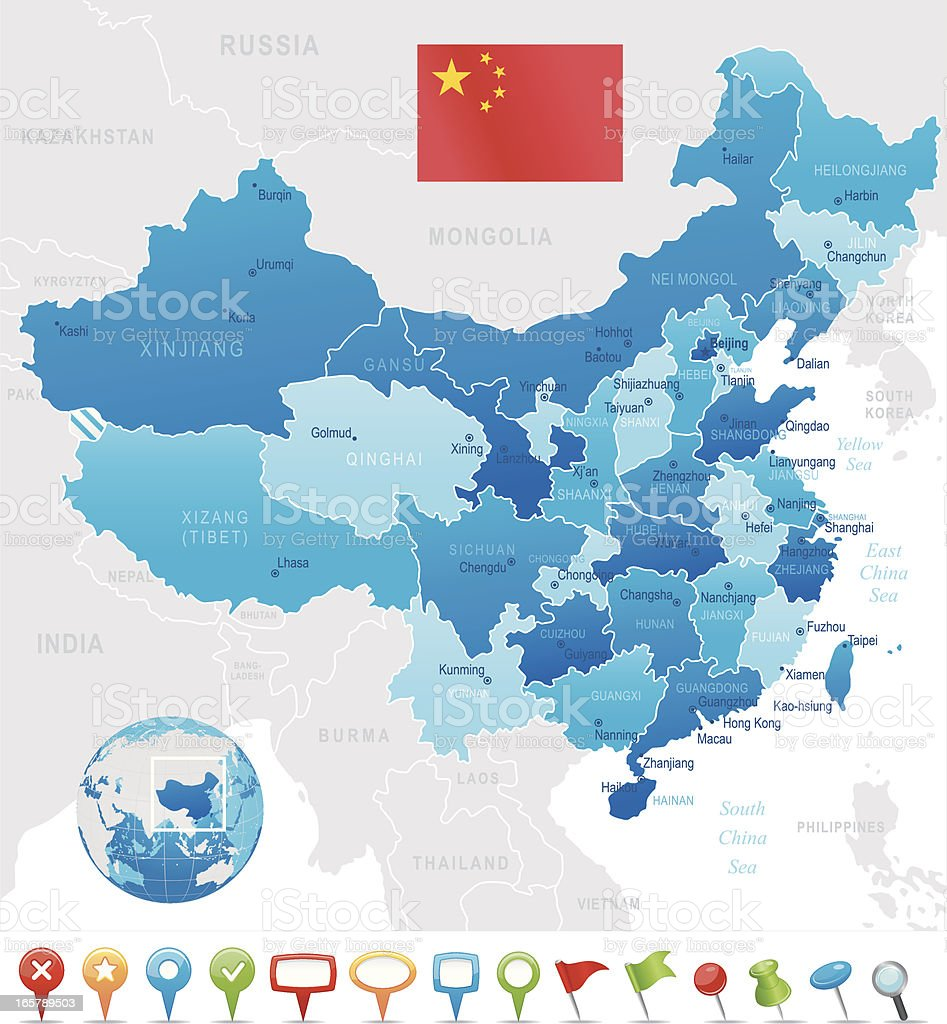 China map - regions, cities and navigation icons vector art illustration