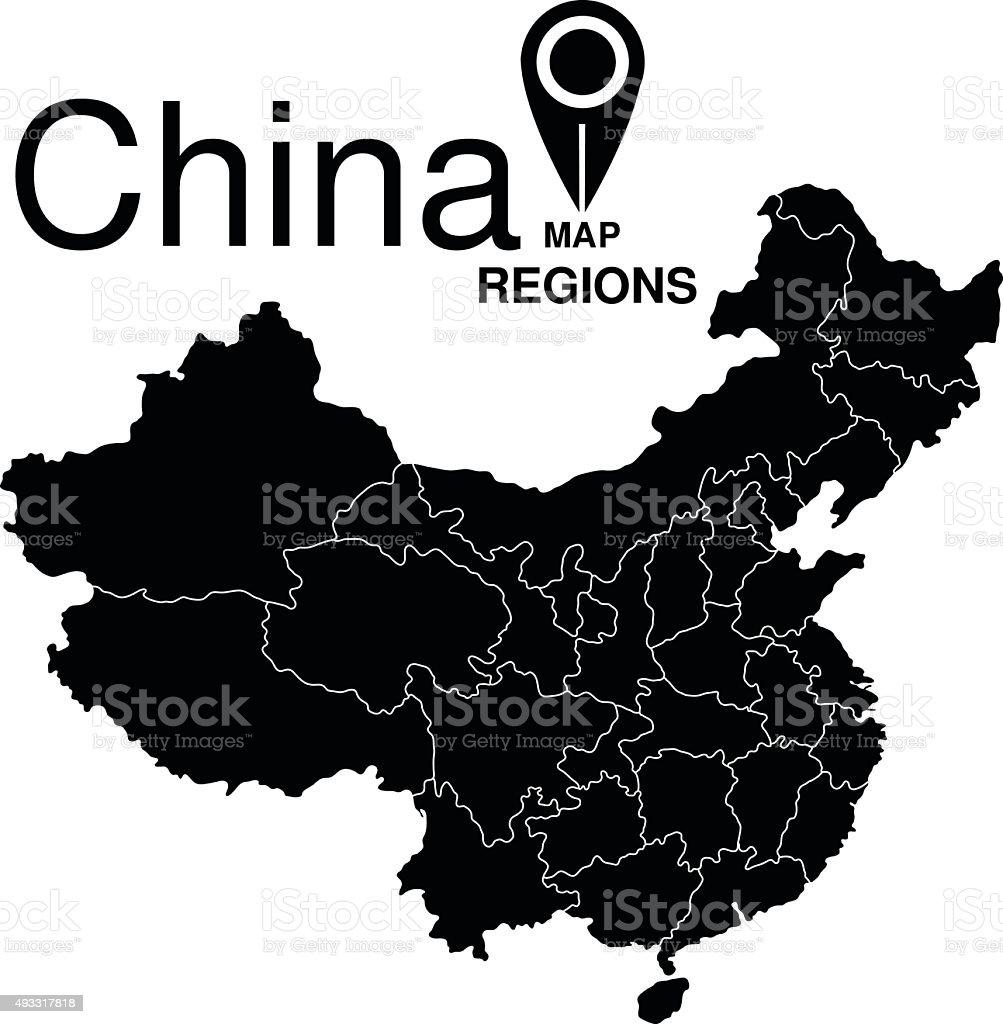 China map. Regions of China vector art illustration