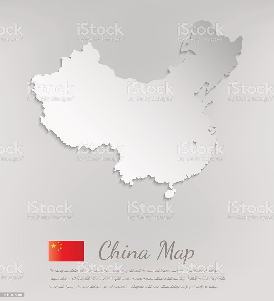 China map white card paper 3D. Vector royalty-free stock vector art