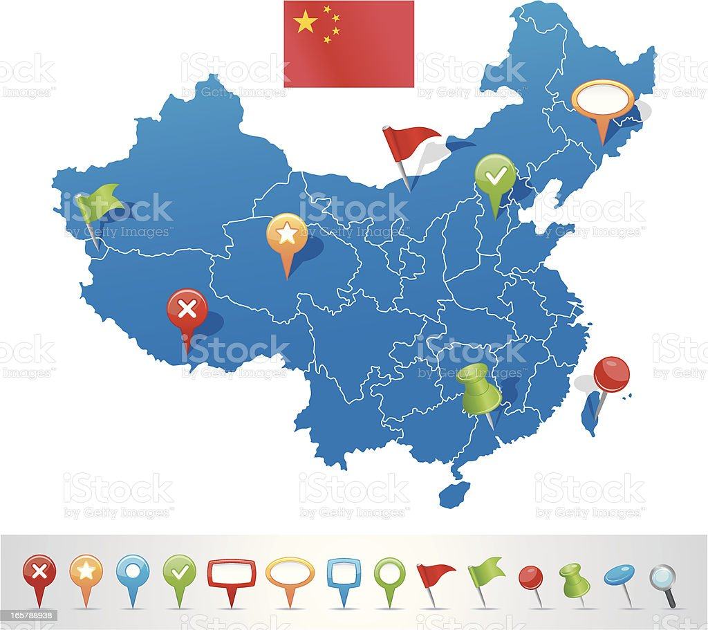 China map with navigation icons vector art illustration
