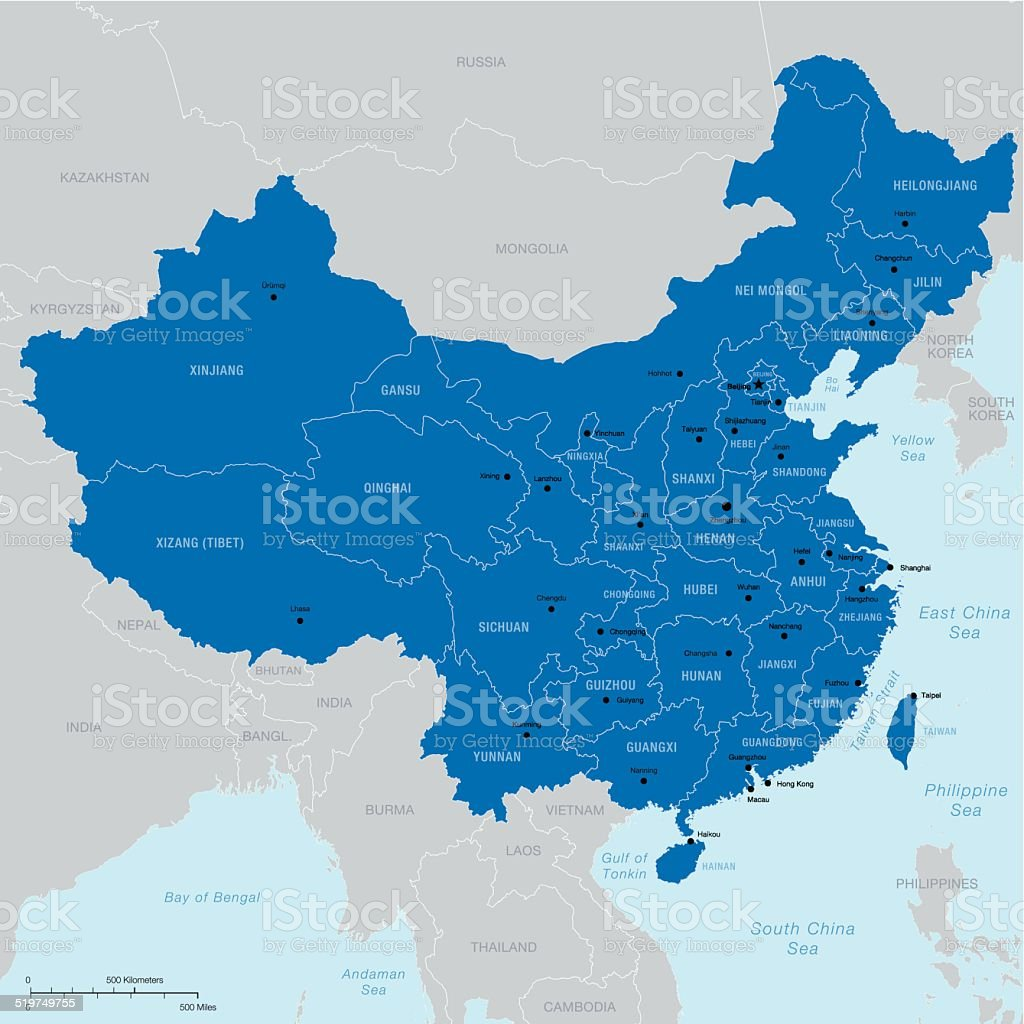 China map with regions, capital and cities vector art illustration