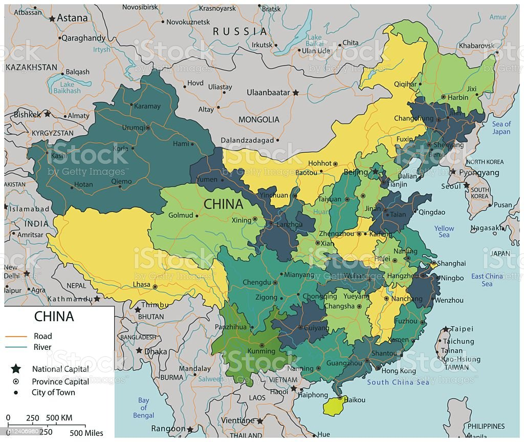 China map with selectable territories. Vector vector art illustration