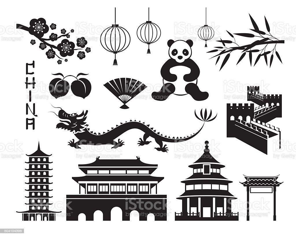 China Mono Objects Set vector art illustration