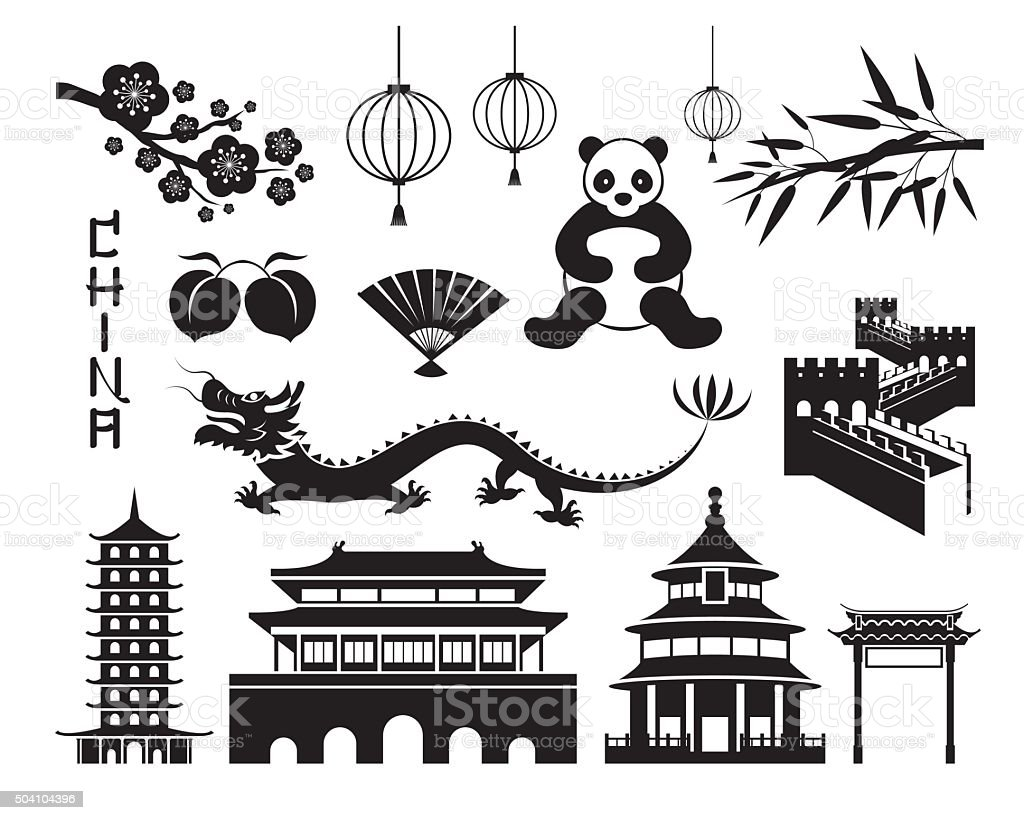 China Mono Objects Set vector art illustration