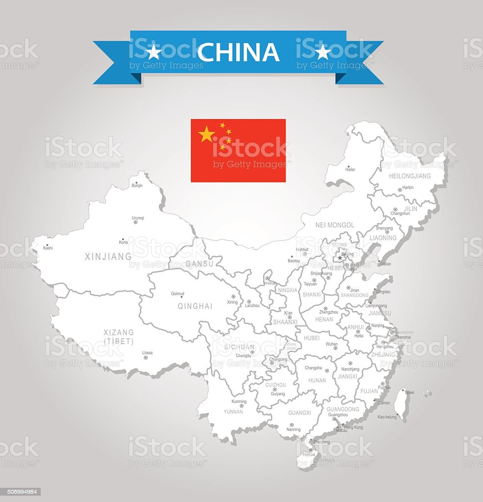 China - old-fashioned map - Illustration vector art illustration