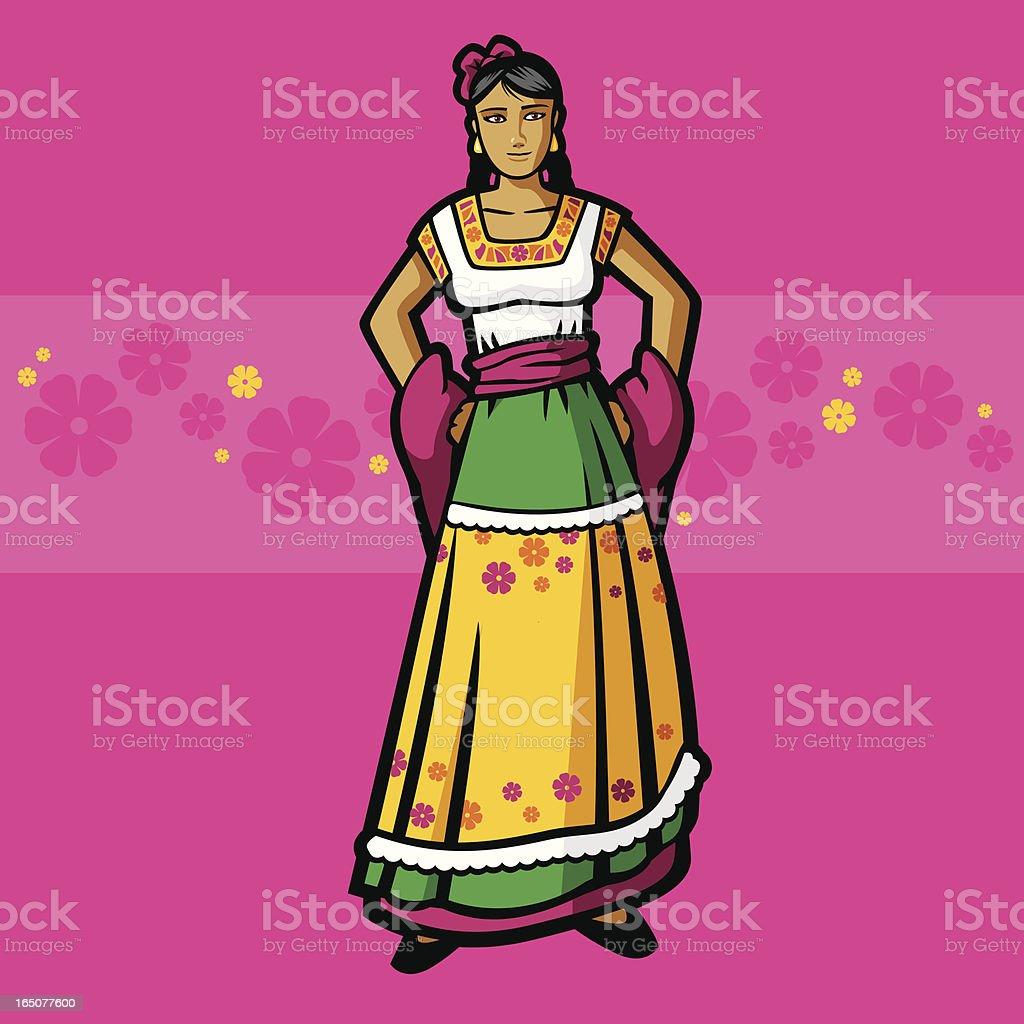 China Poblana (Mexican Garment Series) royalty-free stock vector art