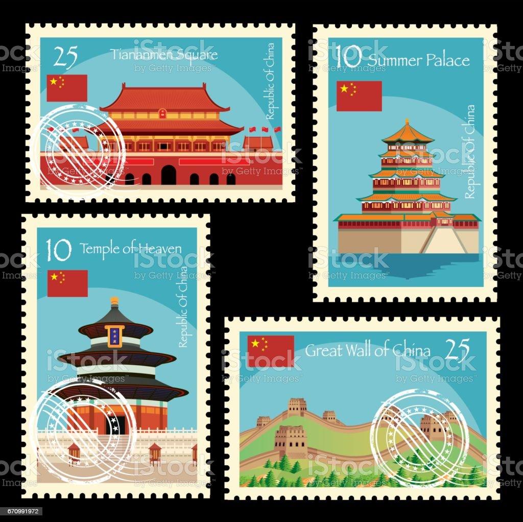 China Postage vector art illustration