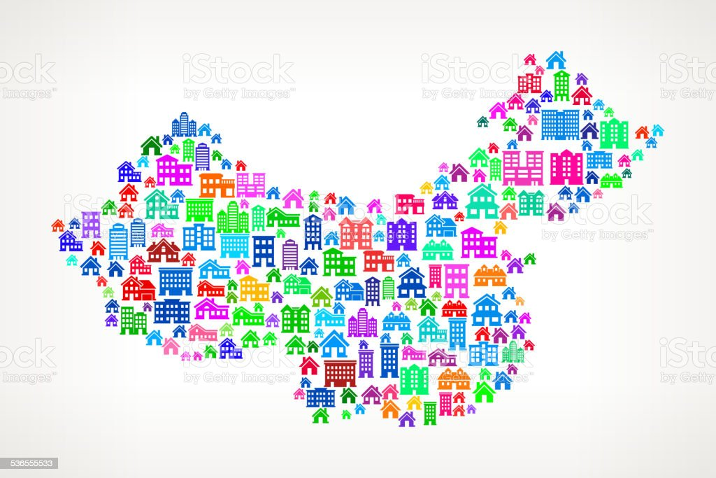 China On House and Real Estate Icon Pattern vector art illustration