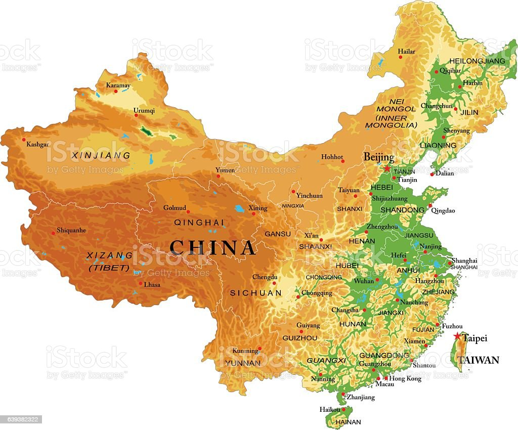 China relief map vector art illustration