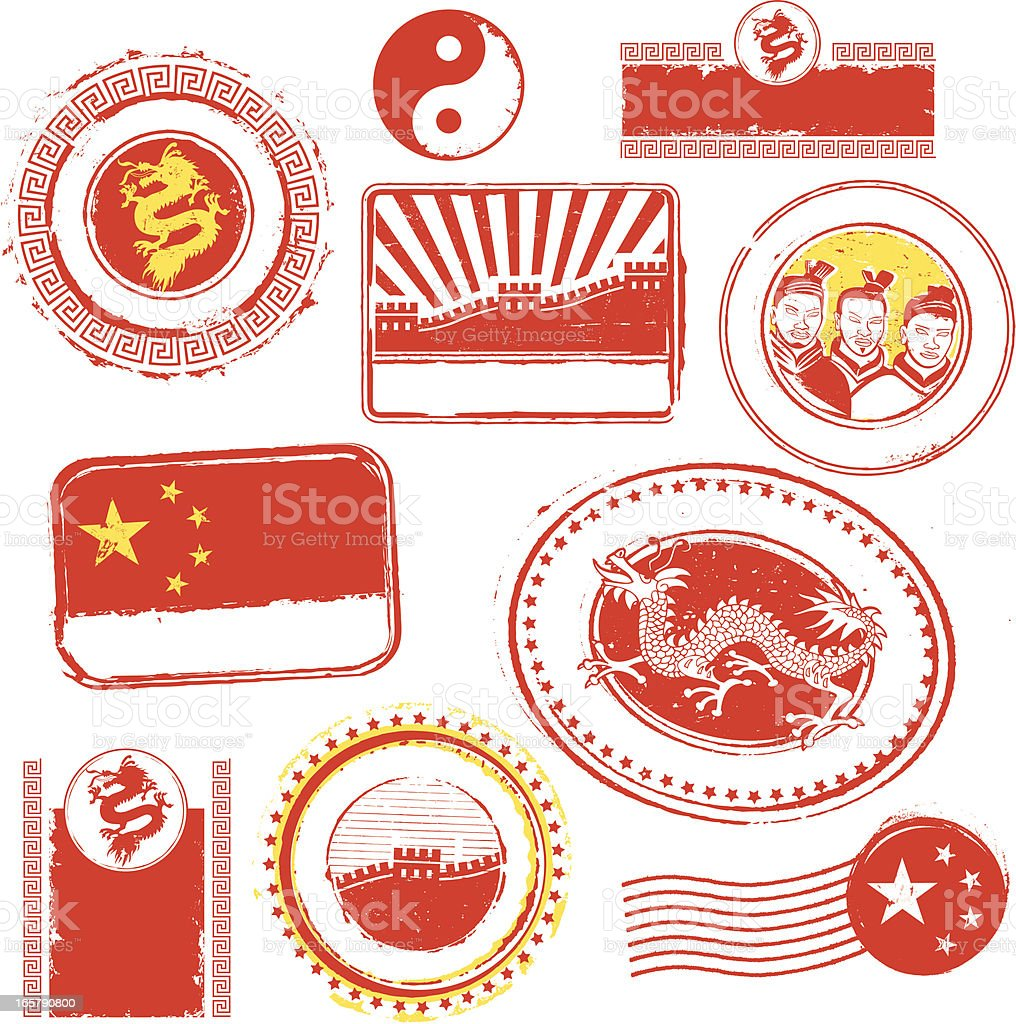China Rubber Stamps royalty-free stock vector art