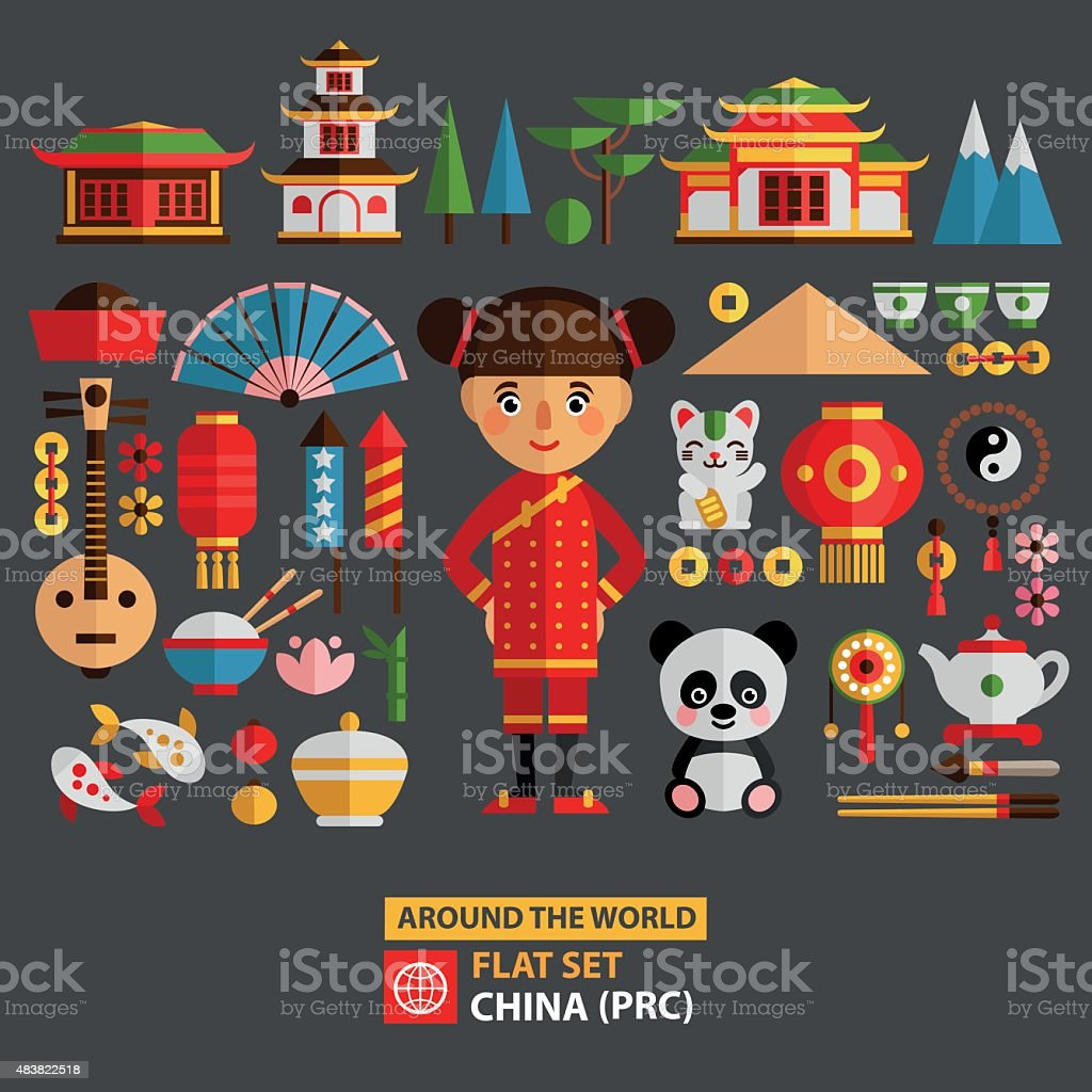 China set of characters and icons. vector art illustration