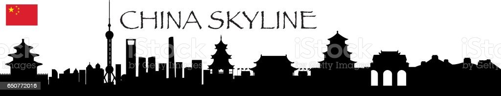 China Skyline vector art illustration
