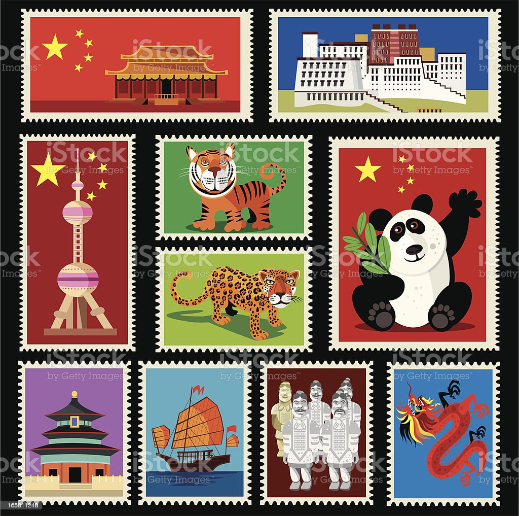 China Stamps vector art illustration