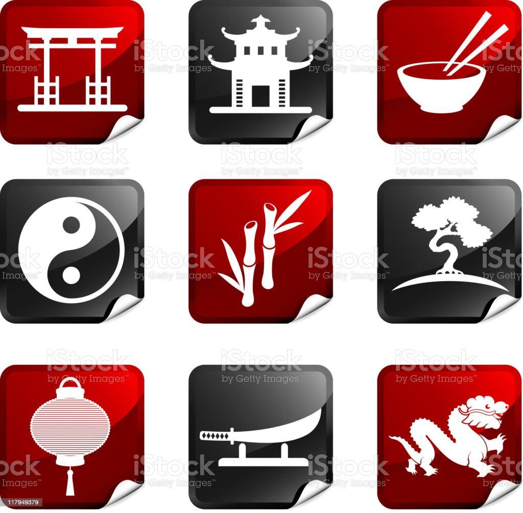 China sticker set vector art illustration