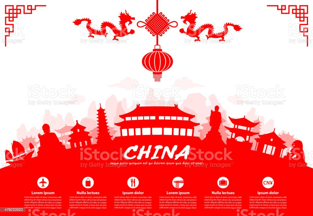 China Travel Landmarks vector art illustration