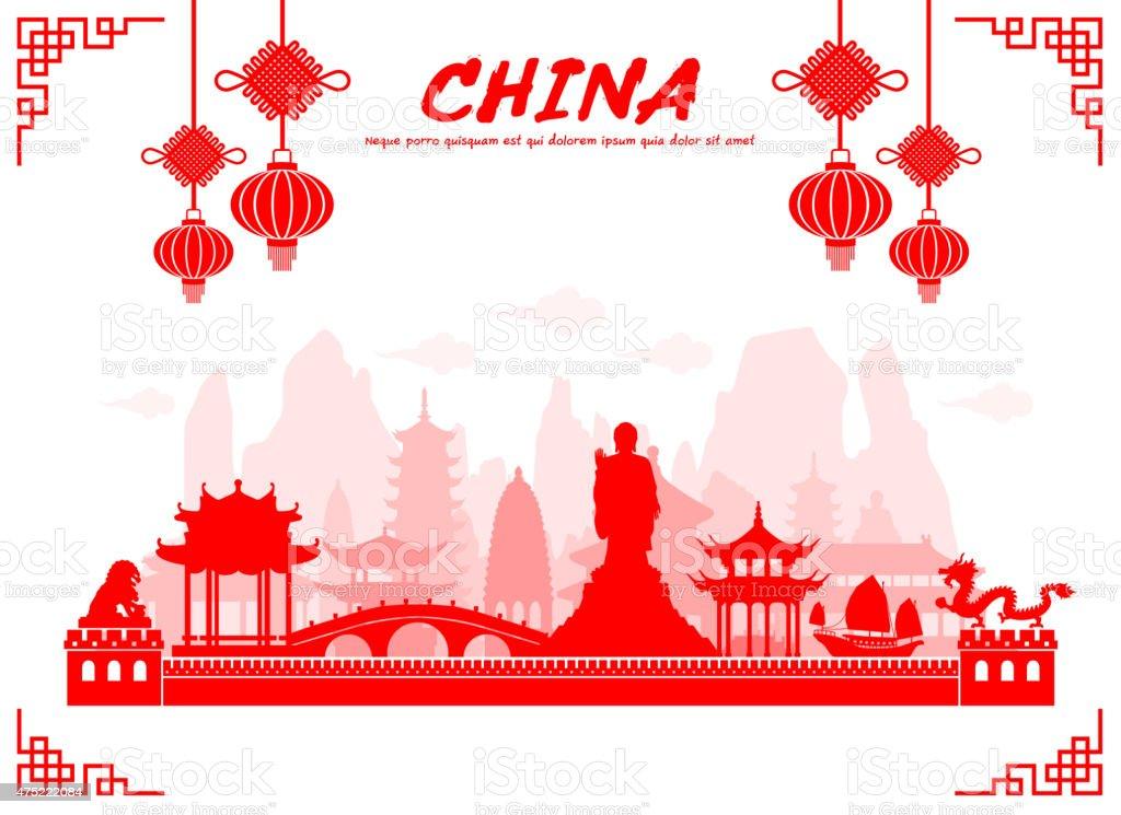 China Travel Landmarks. vector art illustration