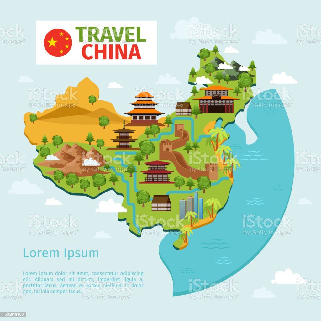 China travel vector map with traditional Chinese landmarks vector art illustration