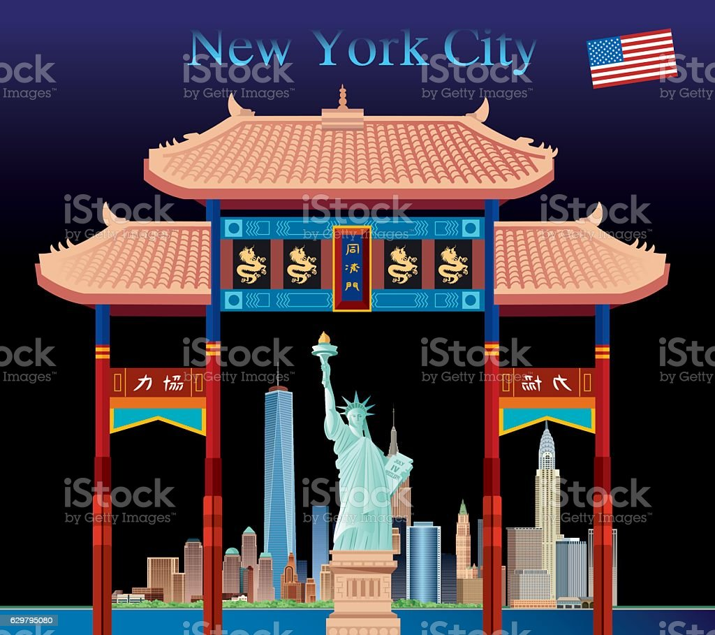 Chinatown and New york City vector art illustration