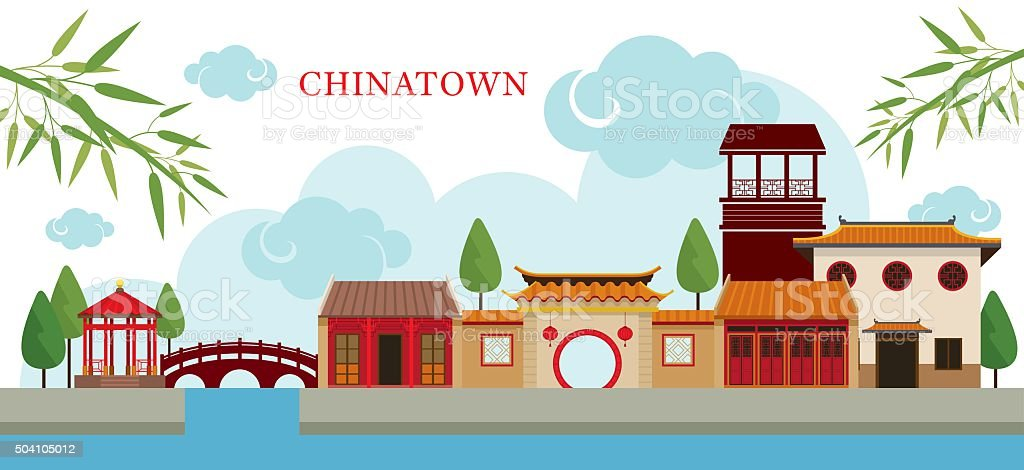 Chinatown Building and Park vector art illustration