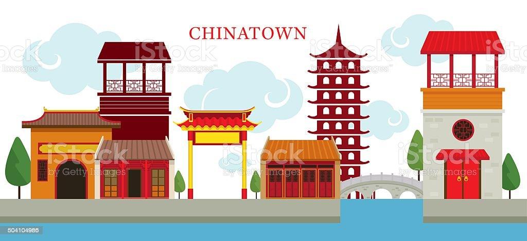 Chinatown Building vector art illustration