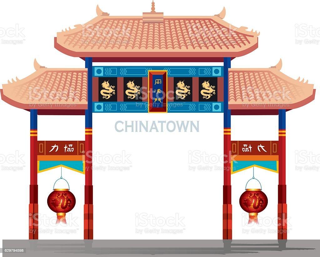 Chinatown gate vector art illustration