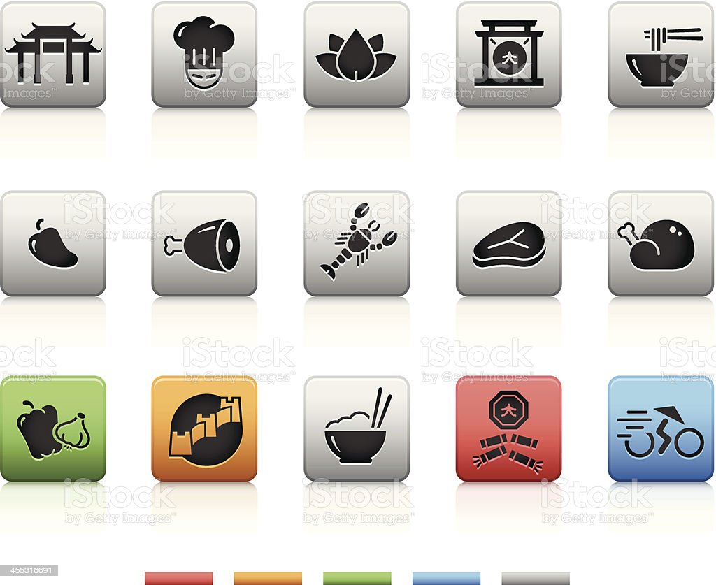 Chines Food & Restaurant 1/2   Square vector art illustration