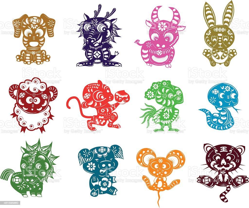 chinese 12 animals paper cut vector art illustration