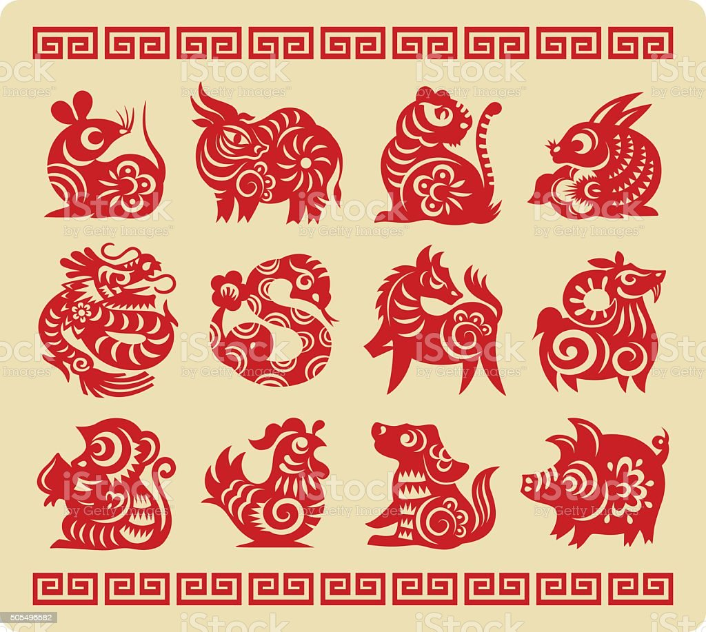 Chinese 12 Zodiac Paper Cutting vector art illustration