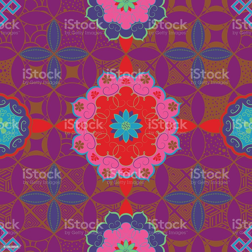 Chinese abstract geometric tiles seamless pattern in retro style. Vector vector art illustration