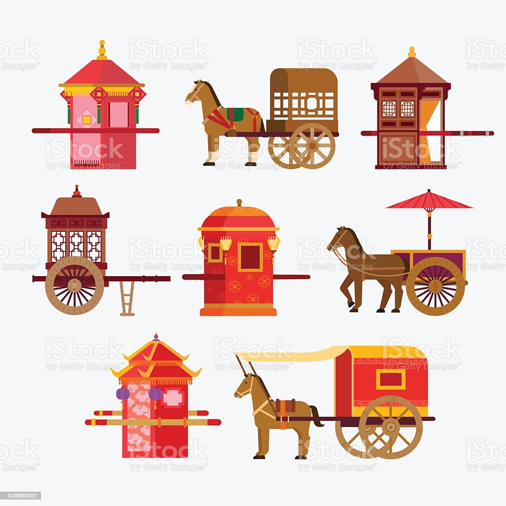 Chinese Ancient vehicle vector art illustration