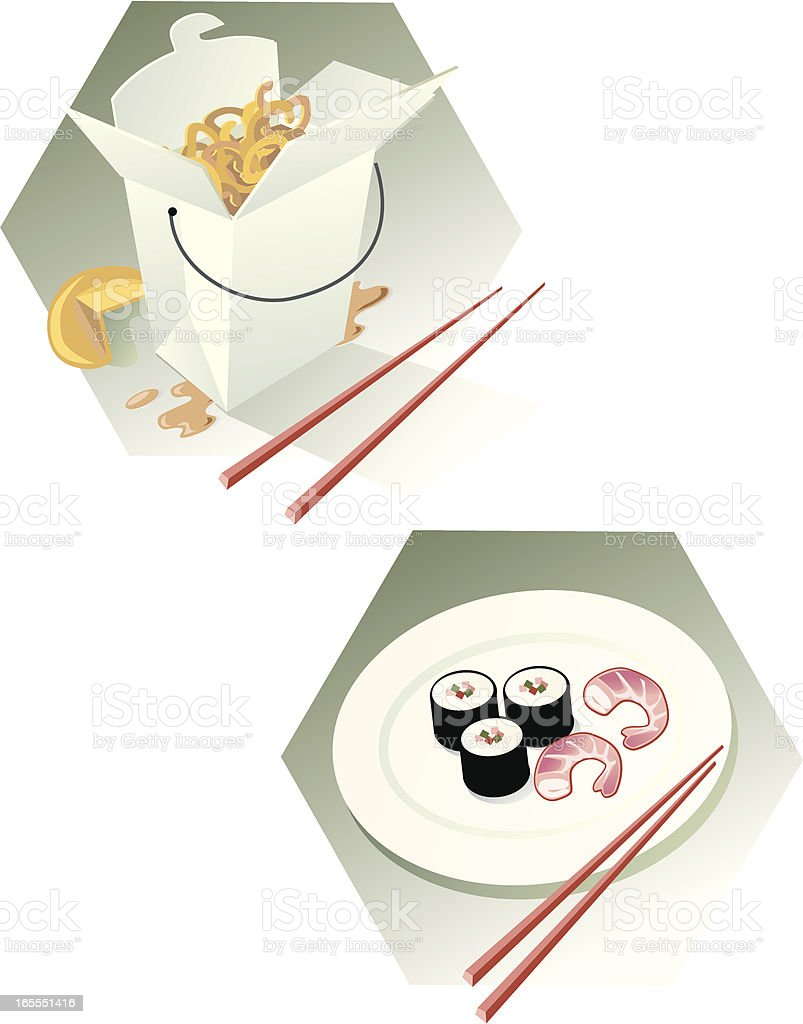 Chinese and Japanese Food Icons royalty-free stock vector art