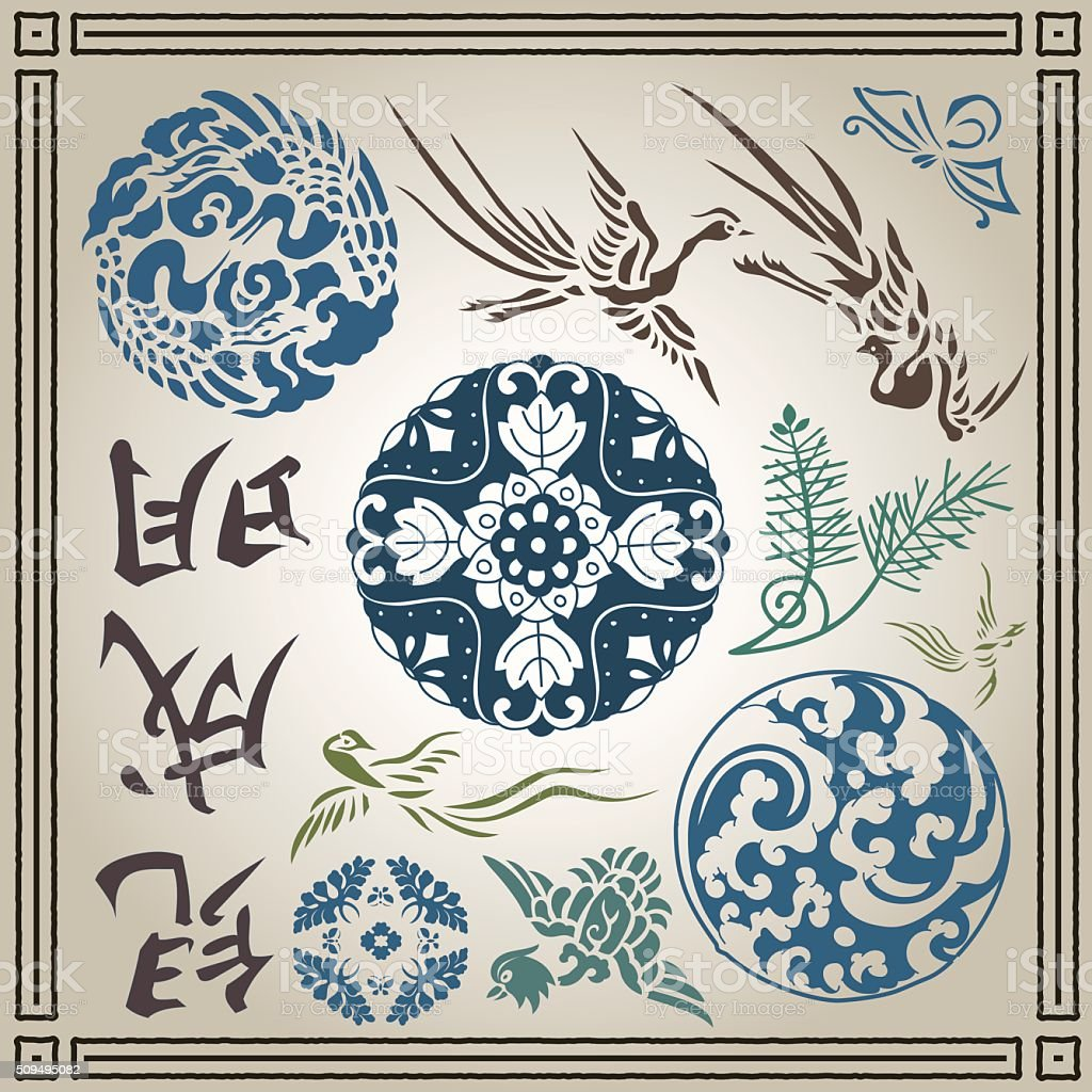 Chinese and japanese vector ornament set vector art illustration