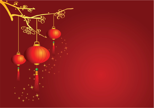 Chinese Background With Lanterns Vector Art Illustration